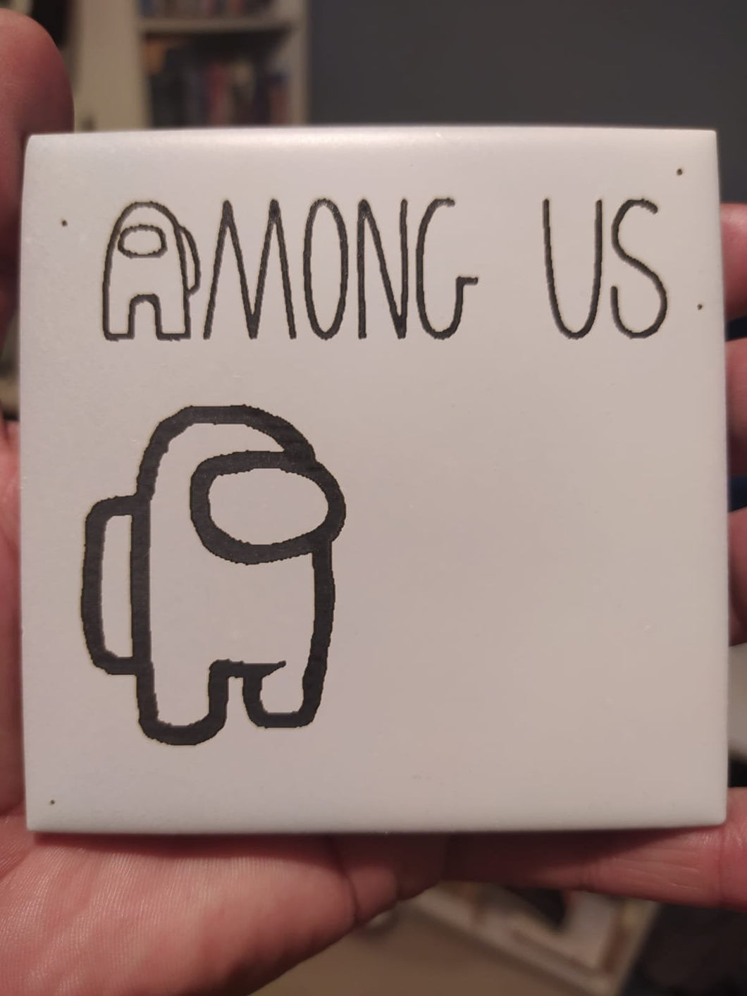 Among us Game-Nerd, laser engraved Ceramic Coaster
