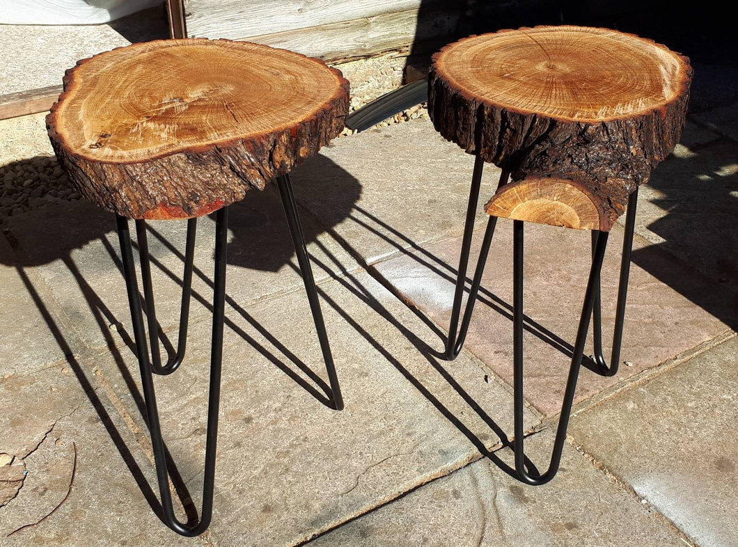 Unique pair of Oak living edge stools/occasional tables.