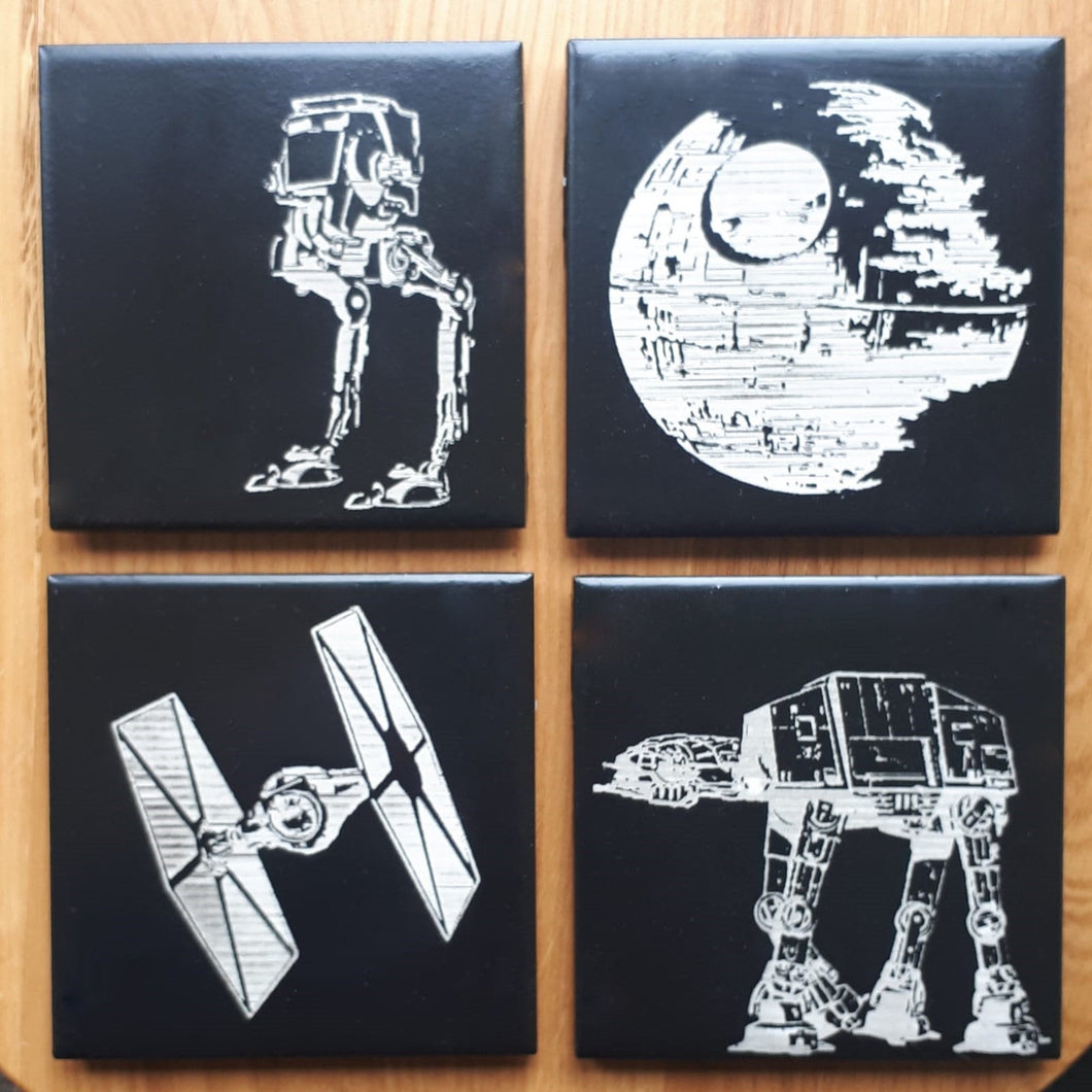 Star Wars laser engraved, decorative ceramic tile coasters.