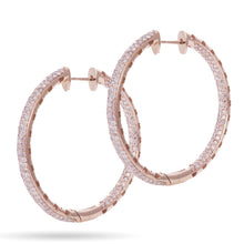 Load image into Gallery viewer, Custom-Made 14k Rose Gold Inside Outside Diamond Hoop Earrings