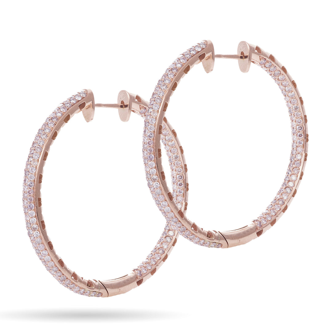 Custom-Made 14k Rose Gold Inside Outside Diamond Hoop Earrings