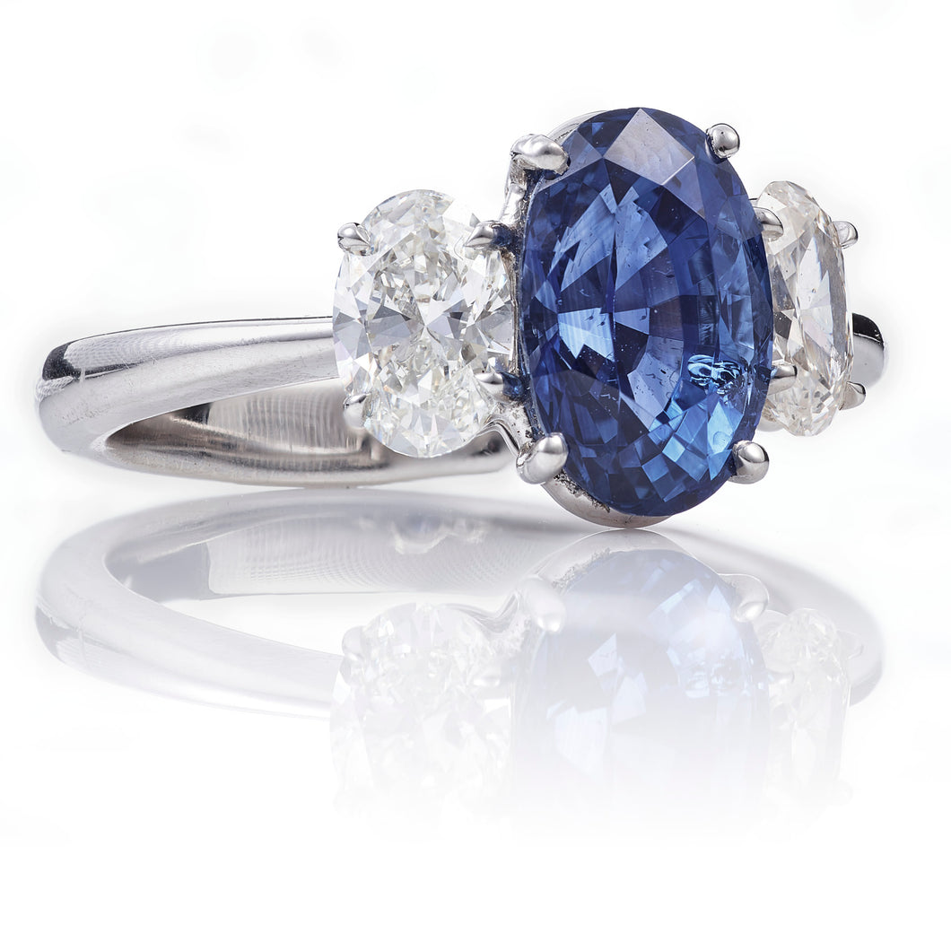 Custom-Made Sapphire & Diamond Ring in Platinum