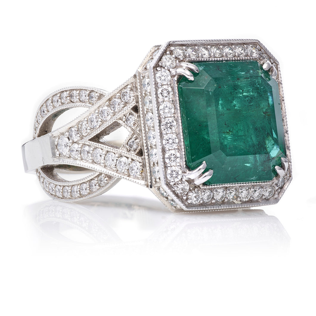 Custom-Made Emerald & Diamond Ring in 14k White Gold