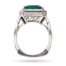 Load image into Gallery viewer, Custom-Made Emerald & Diamond Ring in 14k White Gold
