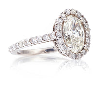 Load image into Gallery viewer, Oval Shaped Halo Diamond Ring