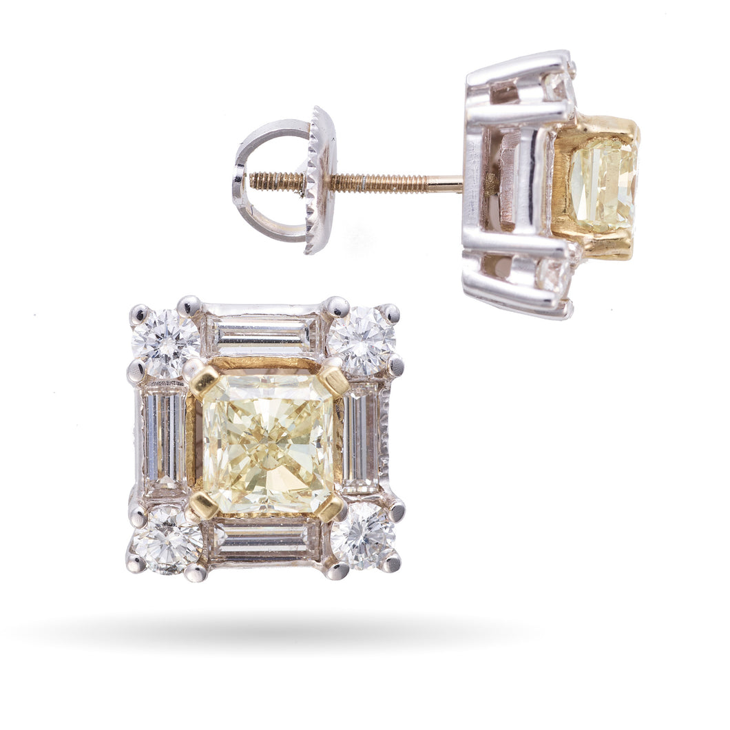 Custom-Made Fancy Light Yellow Diamond Stud Earrings