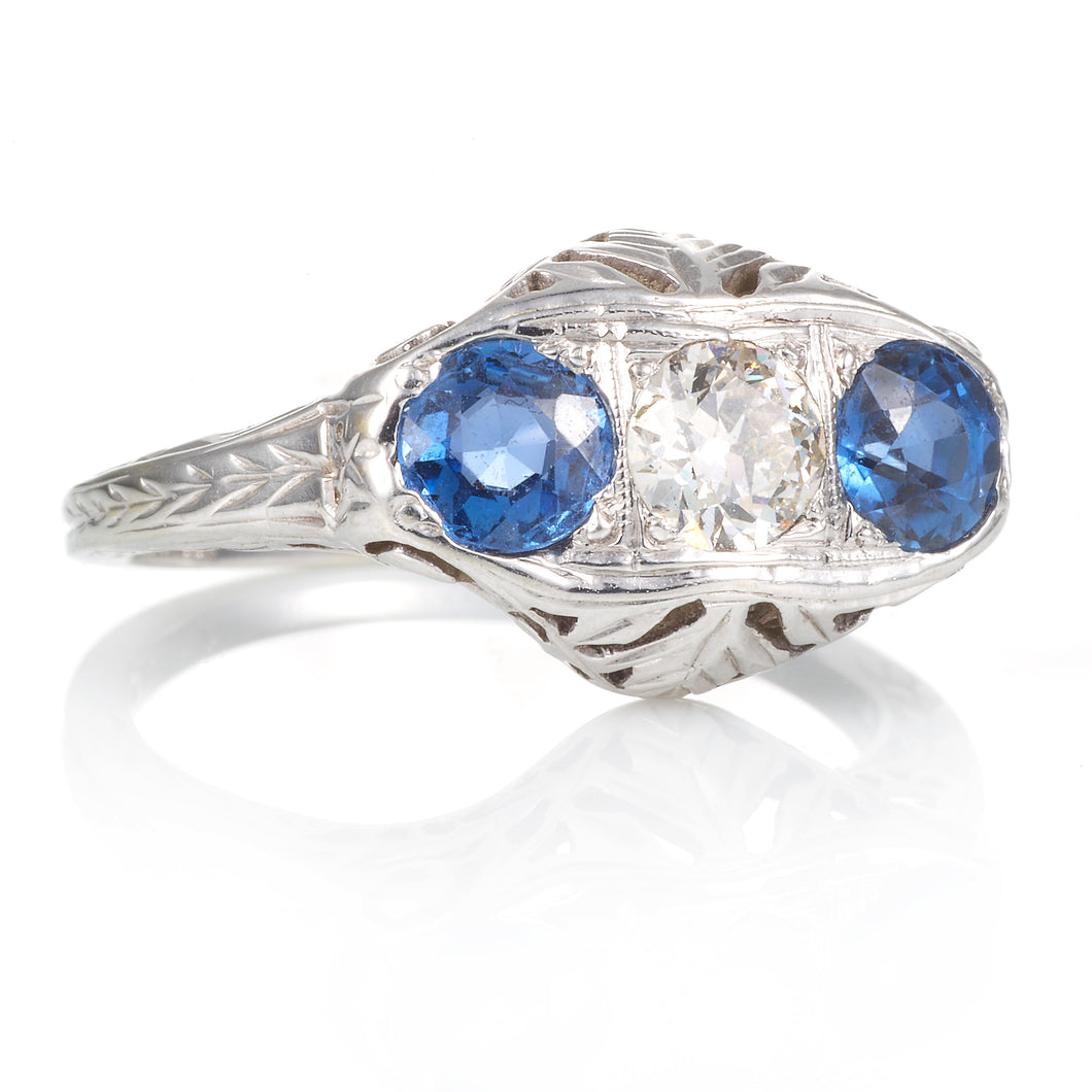 Vintage Hand Carved Sapphire and Diamond 3 Stone Ring