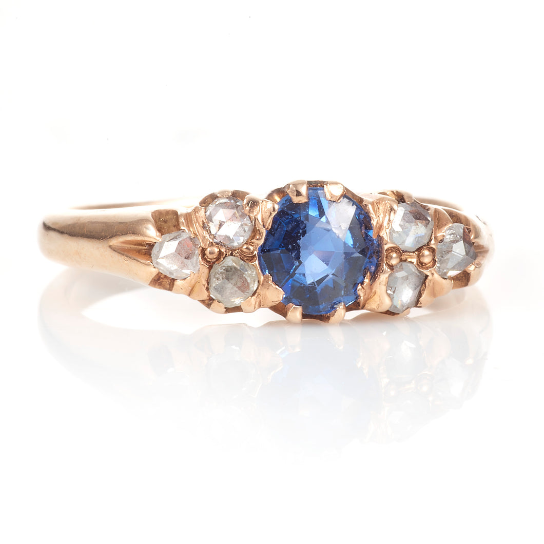 Vintage 14K Rose Gold Sapphire Ring with Diamonds