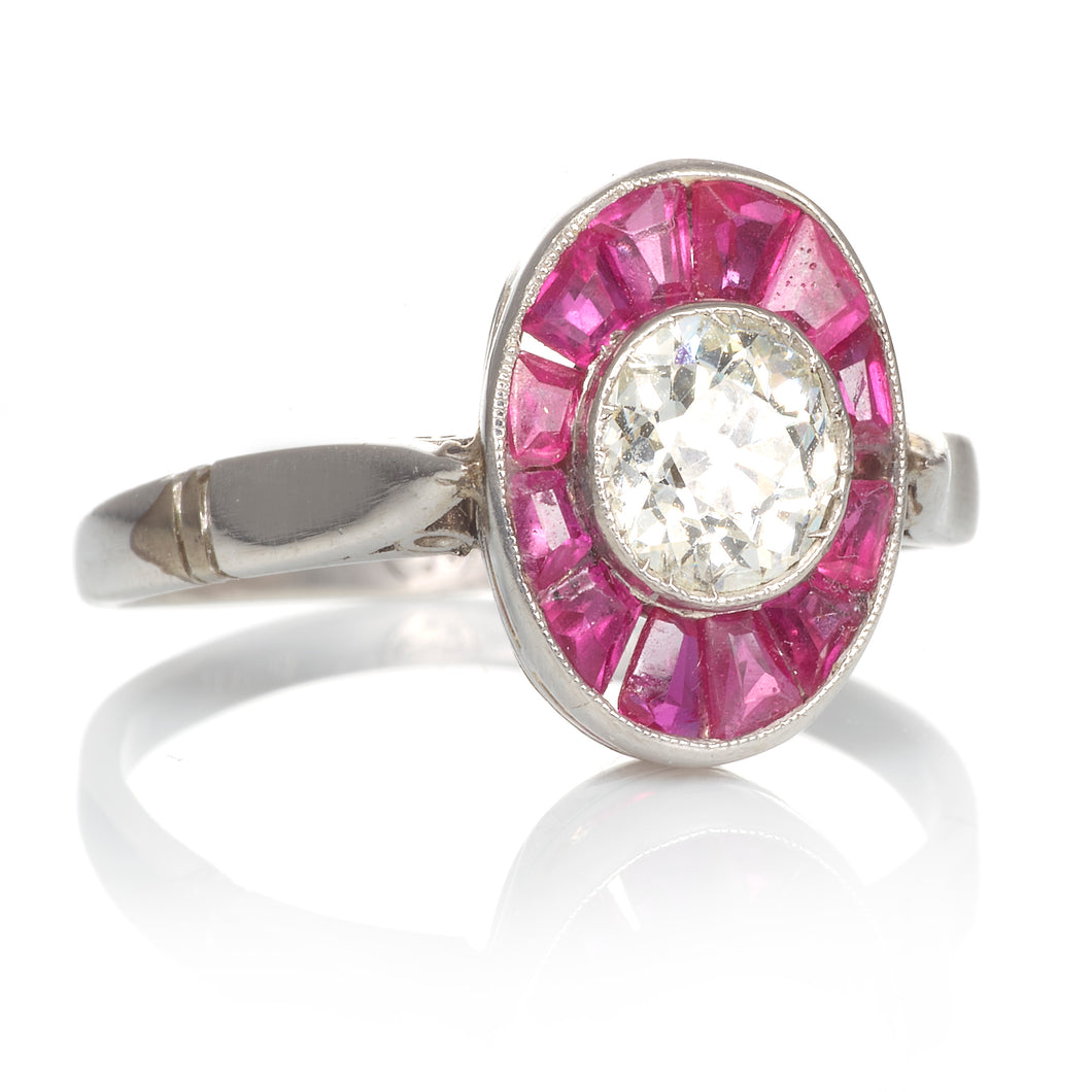 Platinum Ruby and Diamond Vintage Ring