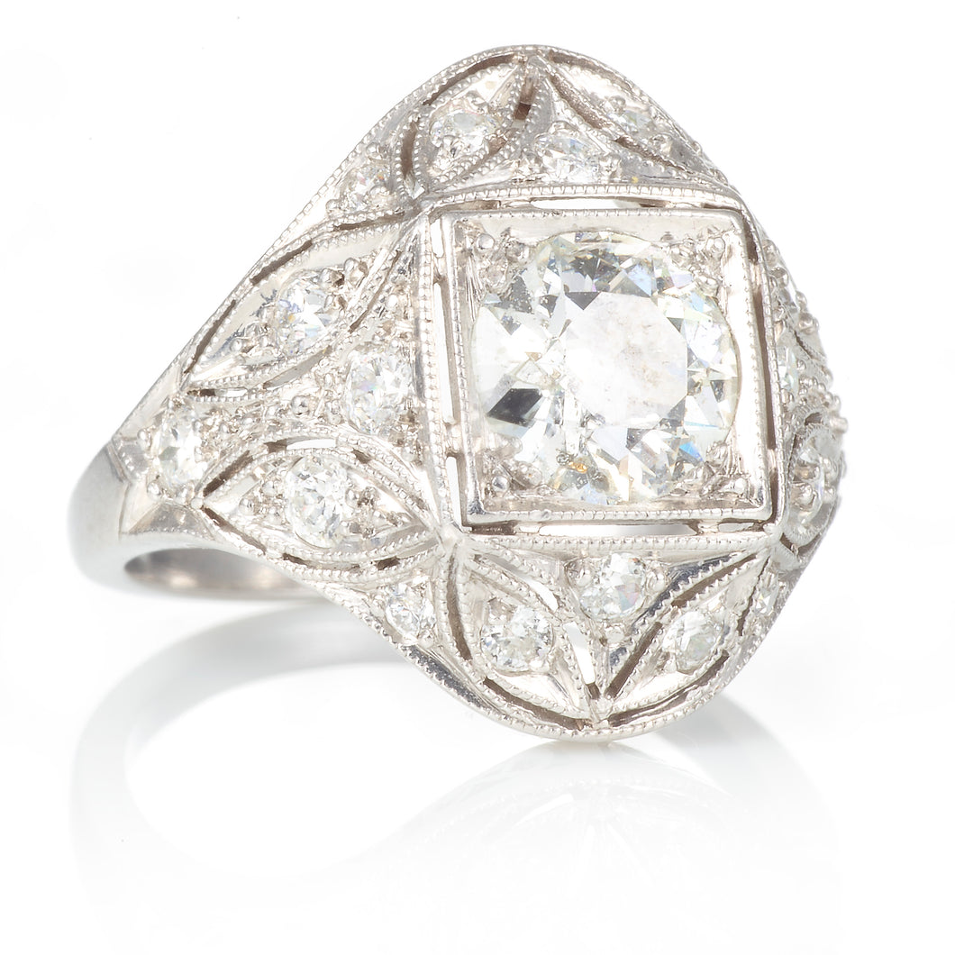 Vintage Platinum Old European Cut Diamond Ring