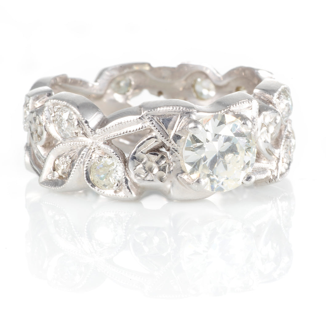 Vintage Diamond Filigree Band in Platinum with an Old Euro Cut Diamond R122