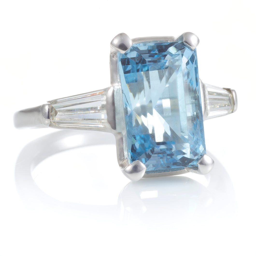 Vintage Emerald Cut Aquamarine and Baguette Diamond Ring R124