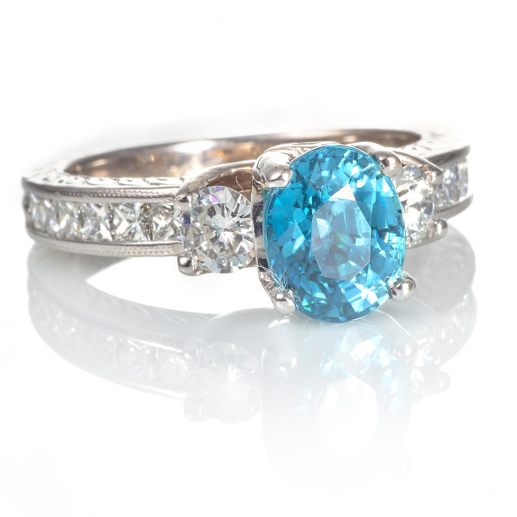Blue Zircon Oval Ring with Diamond Accents in 18K White Gold