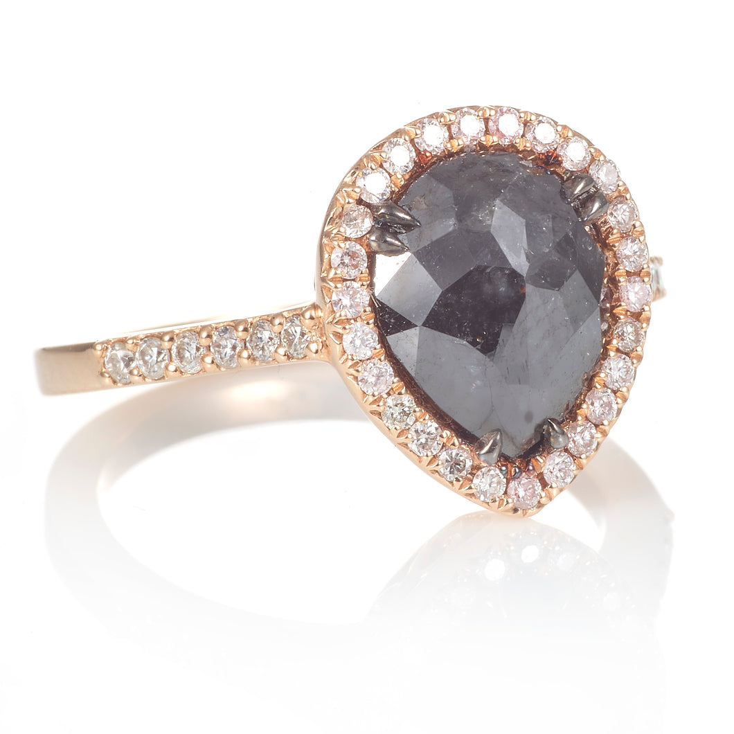 14K Rose Gold Black Diamond Ring with Pear Shape Halo