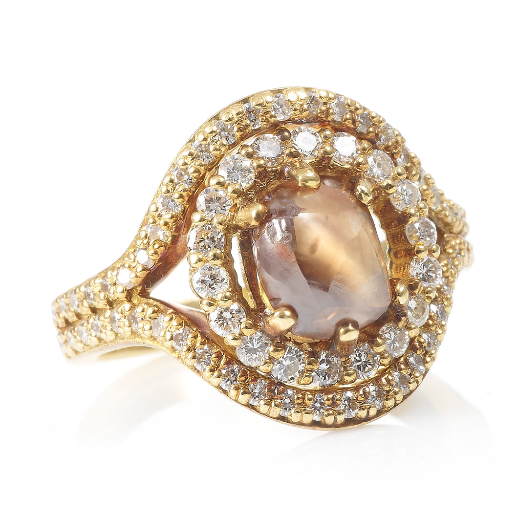 Natural Champagne Diamond Ring with a Double Halo in 18K Yellow Gold
