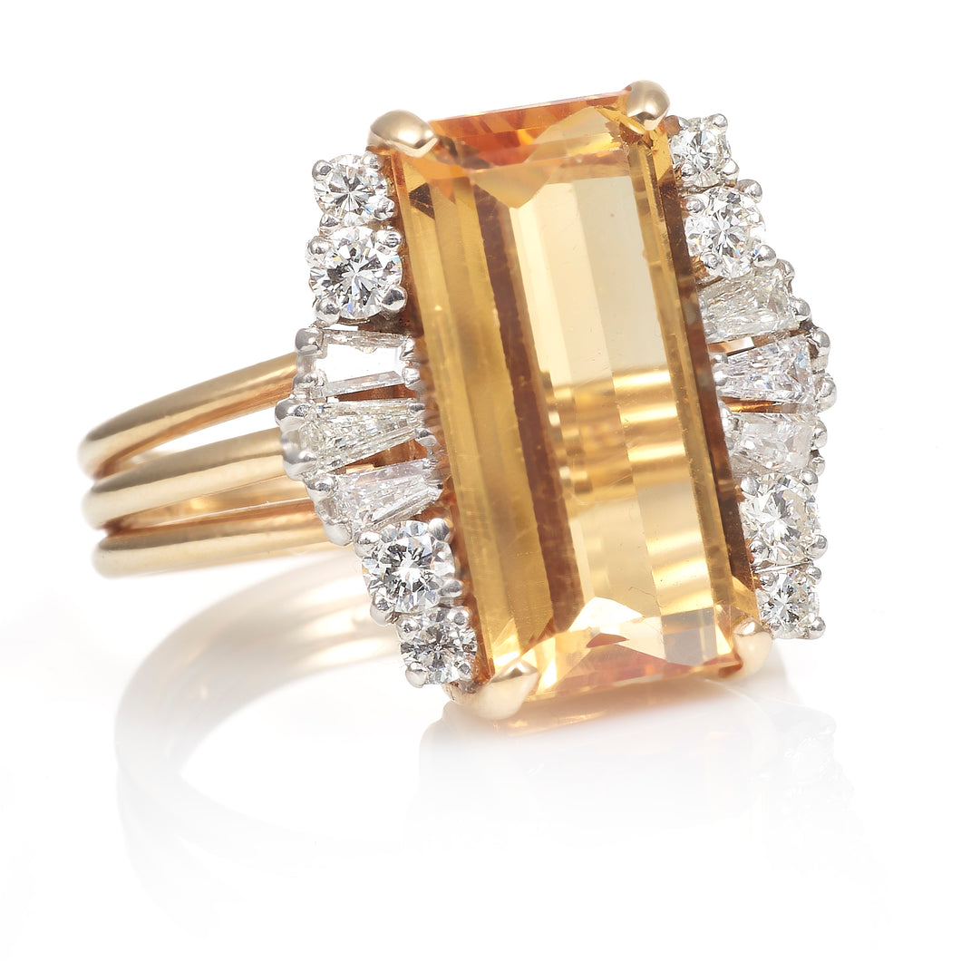 Vintage Precious Topaz and Diamond Accent Ring in 14K Yellow Gold