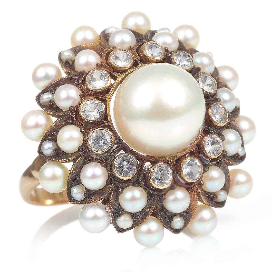 Vintage Pearl Ring with Starburst of Diamond and Seed Pearls in 14K Yellow Gold