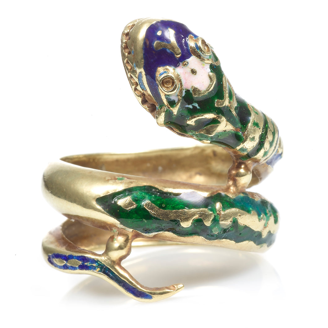 Vintage Estate Snake Ring with Enamel