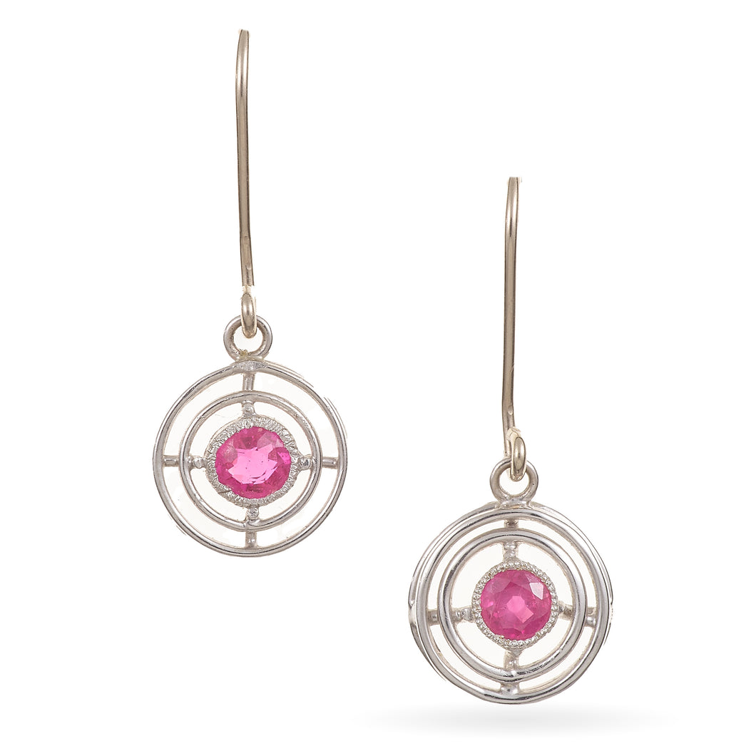Vintage 18K White Gold Ruby Dangle Earrings