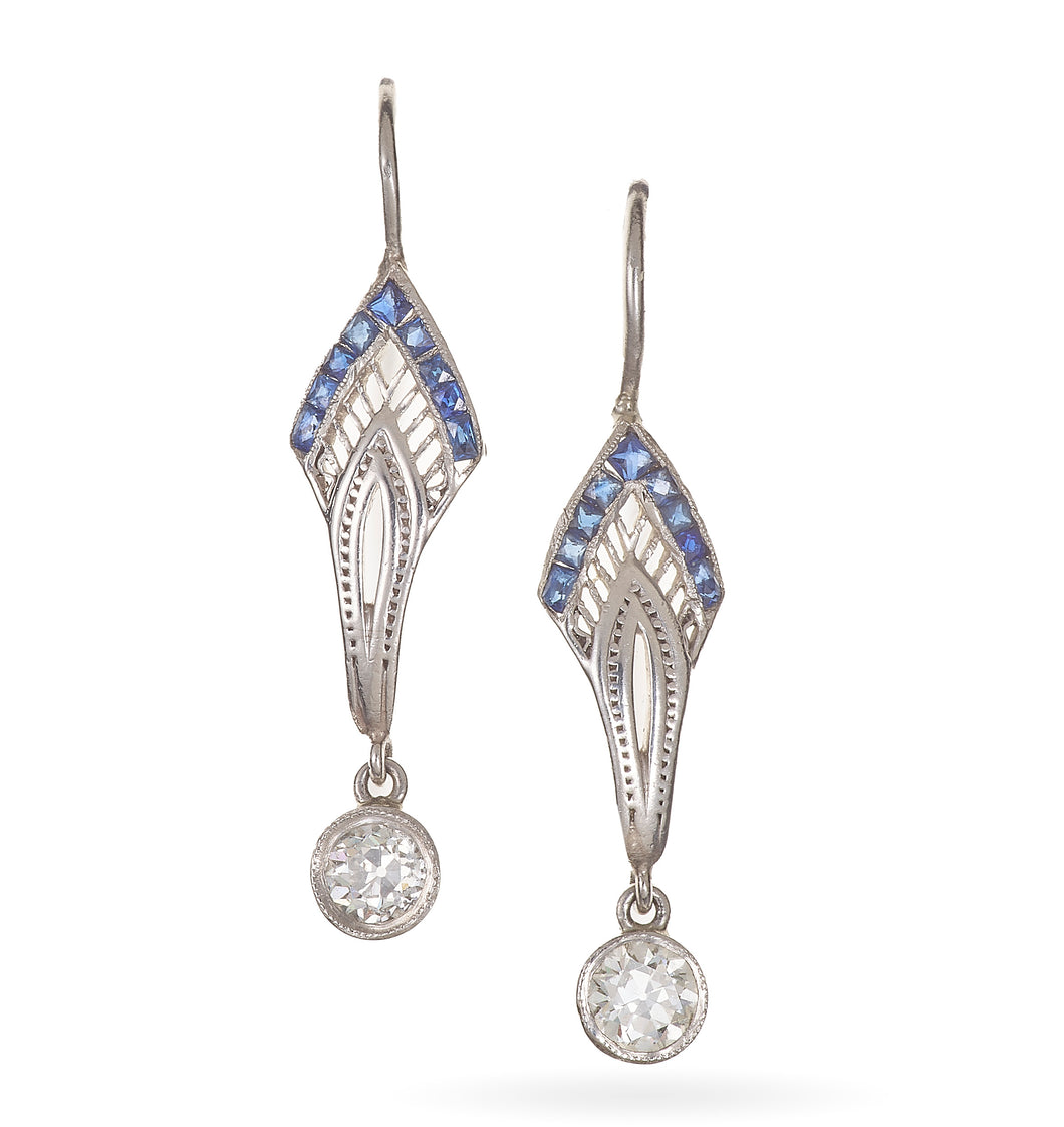 Art Deco Sapphire and Diamond Dangle Earrings in Platinum