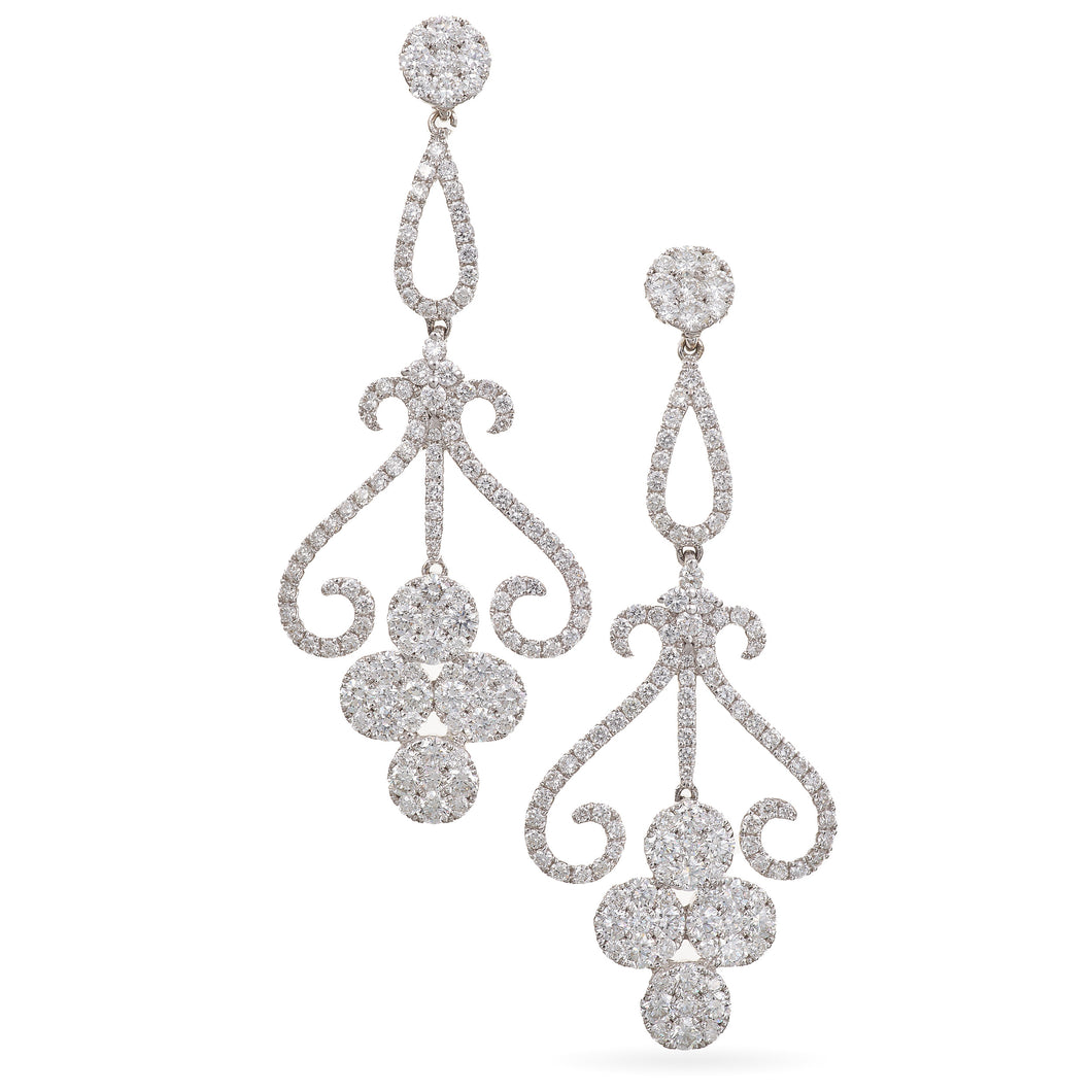 Custom Pave Diamond Earring Dangles in 18K White Gold