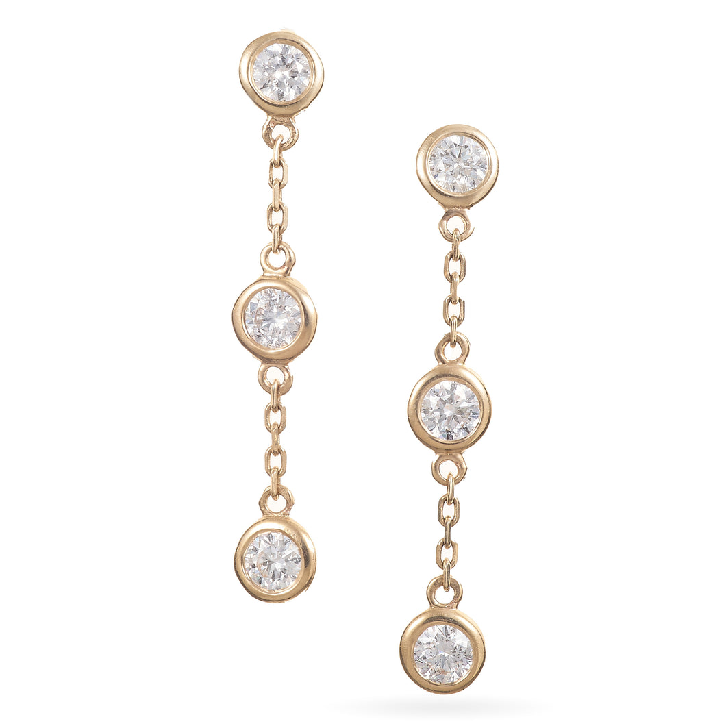 Diamonds-by-the-Yard Style Earrings in 14K Yellow Gold