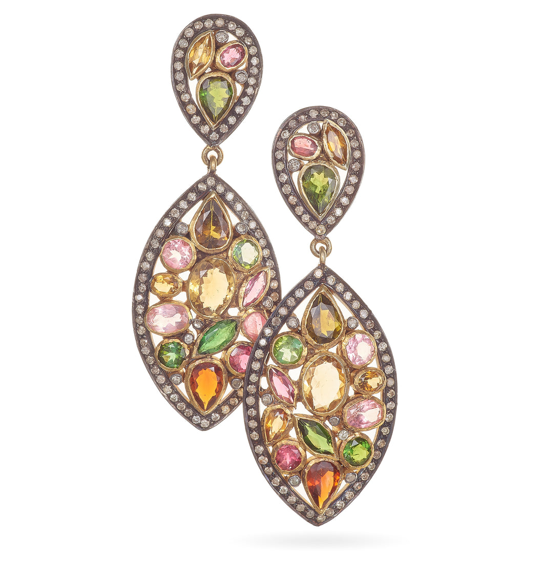 Custom Multi-Color Tourmaline Earrings in Sterling Silver and 14K Yellow Gold