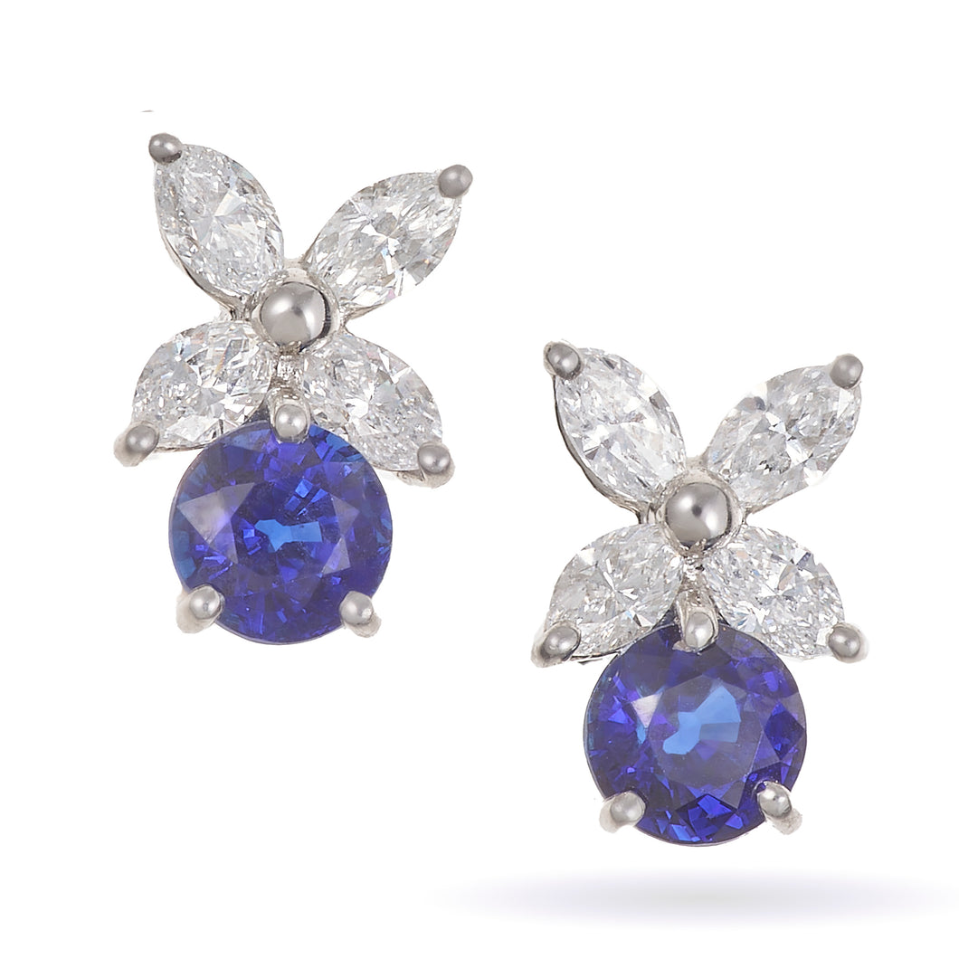 Custom Made Marquise Diamond and Blue Sapphire Platinum Earrings