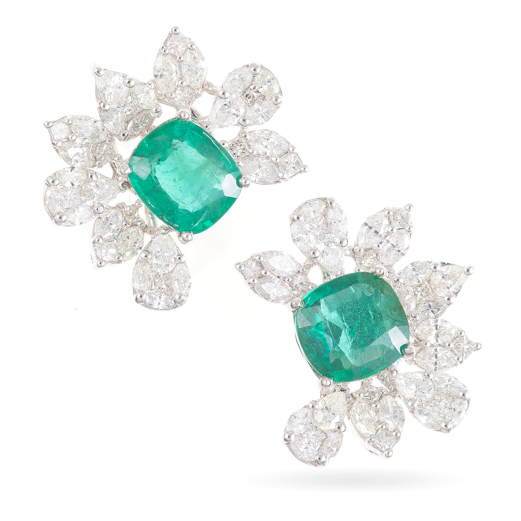 Emerald Green and Diamond Cocktail Style Earrings in 18K White Gold