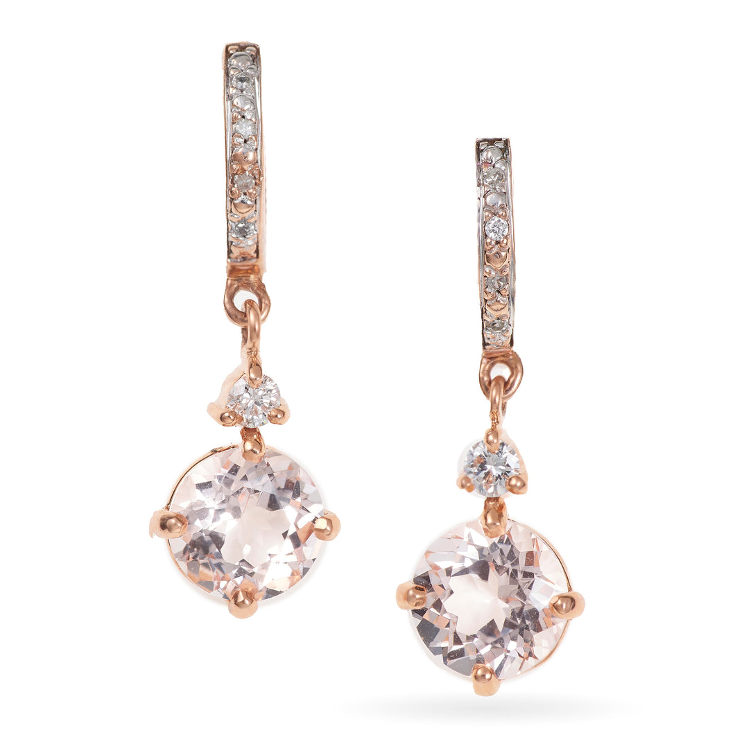 14K Rose Gold Morganite Dangle Earrings
