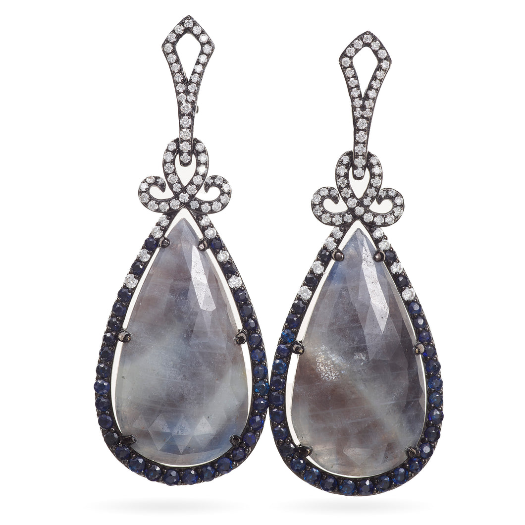 Custom-Made Sapphire and Diamond Dangle Earrings