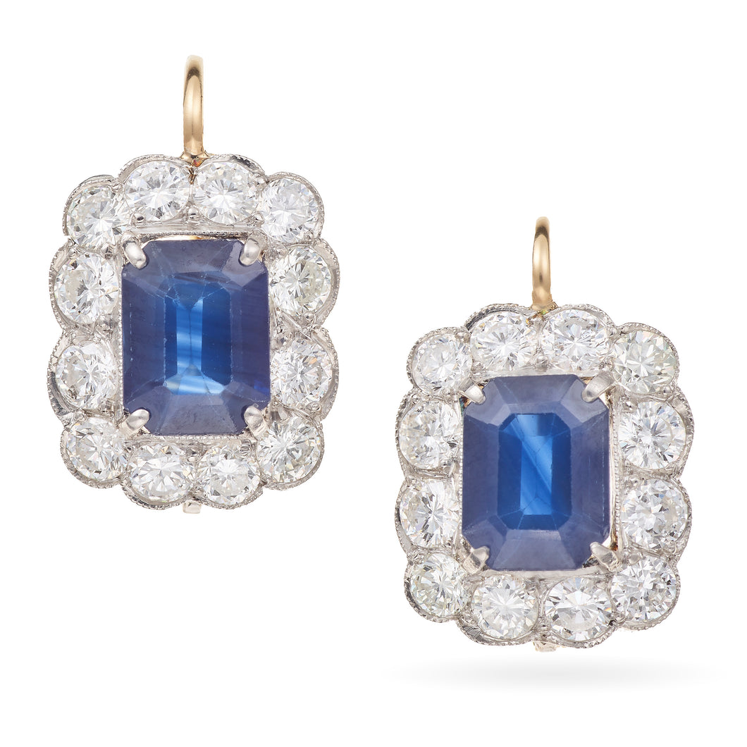 Vintage Sapphire and Diamond Earrings in Yellow Gold