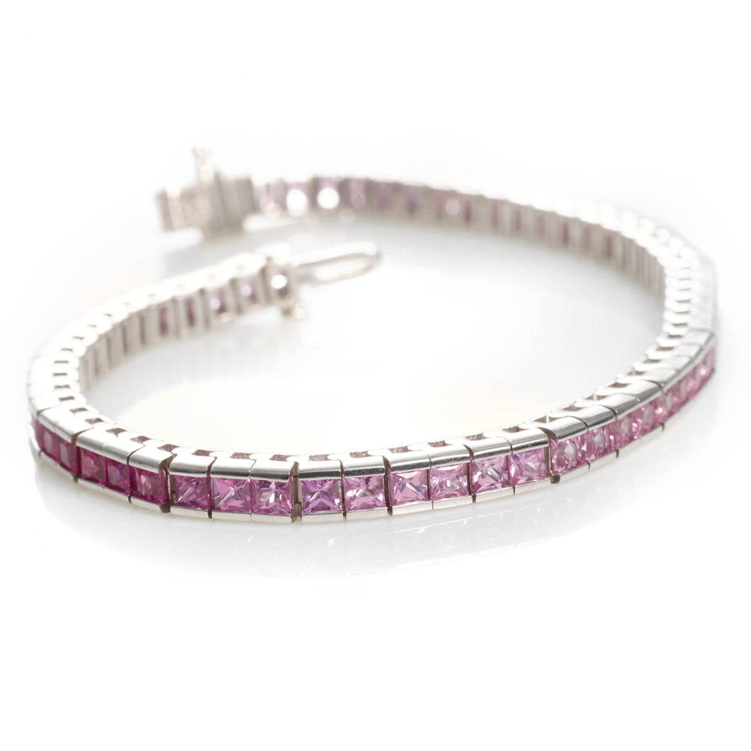 Pink Sapphire and White Gold Tennis Bracelet