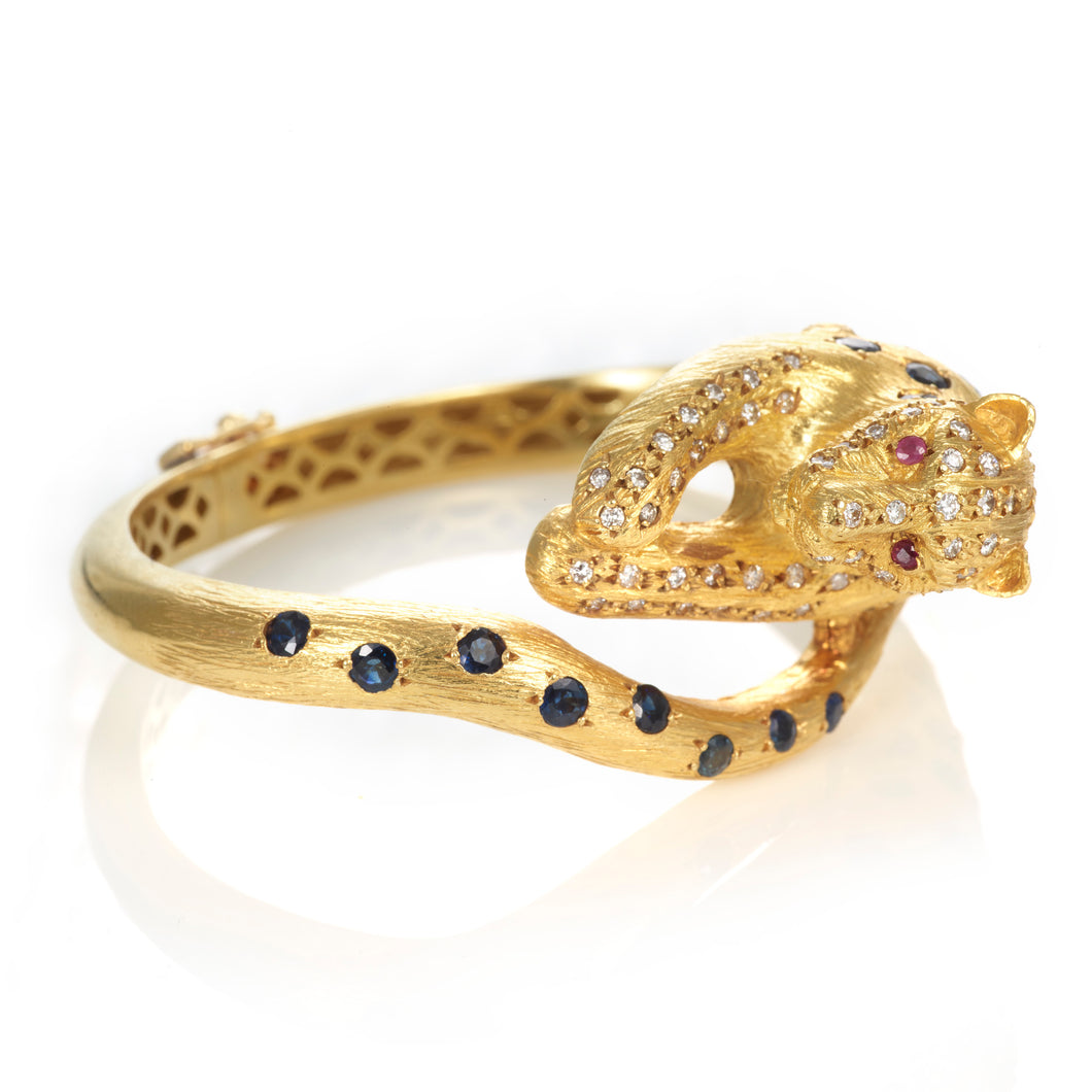 Custom-Made 18K Yellow Gold Panther Bracelet with Diamonds, Sapphires, and Rubies