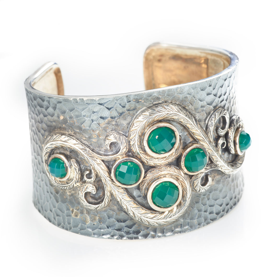 Sterling Silver and Green Onyx Cuff Bracelet