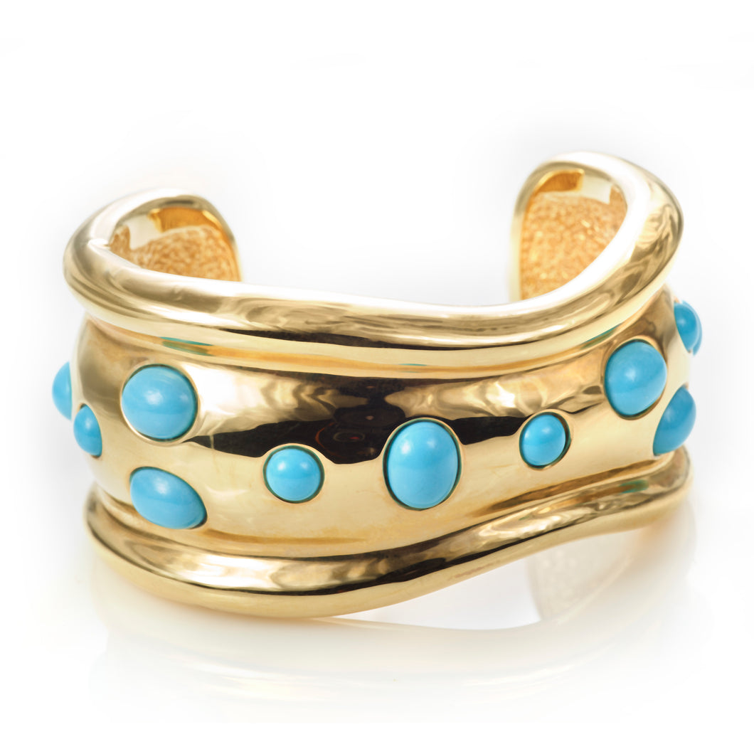 Custom-Made 14K Yellow Gold and Turquoise Cuff Bracelet