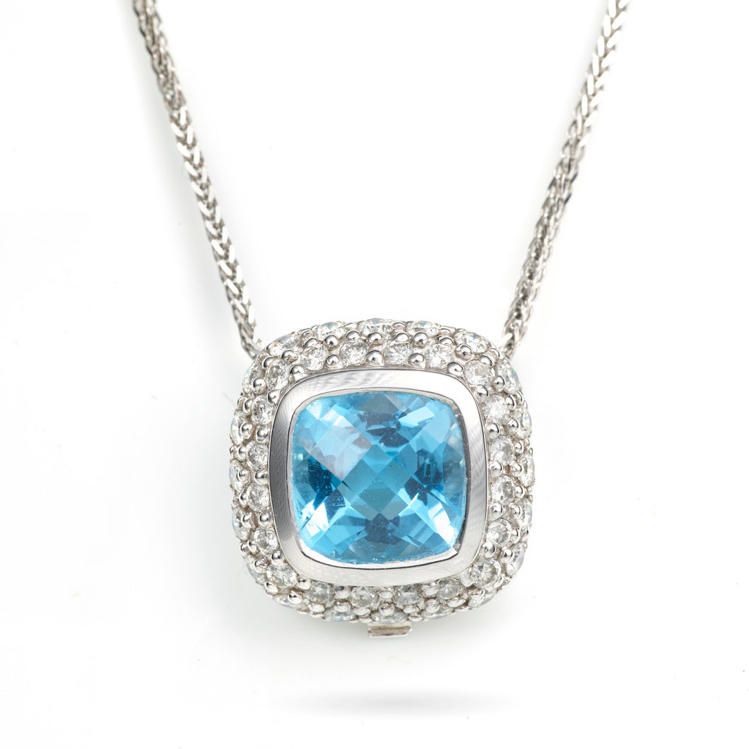Blue Topaz and Pave Diamond Pendant in 14K White Gold