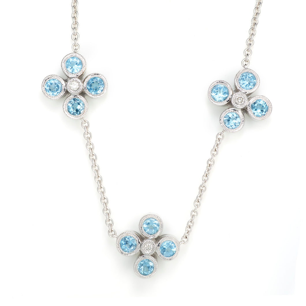 Blue Topaz and Diamond Floral Necklace in 14K White Gold