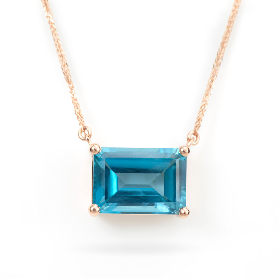 Custom-Made London Blue Topaz East-West Pendant on a 14K Rose Gold Chain