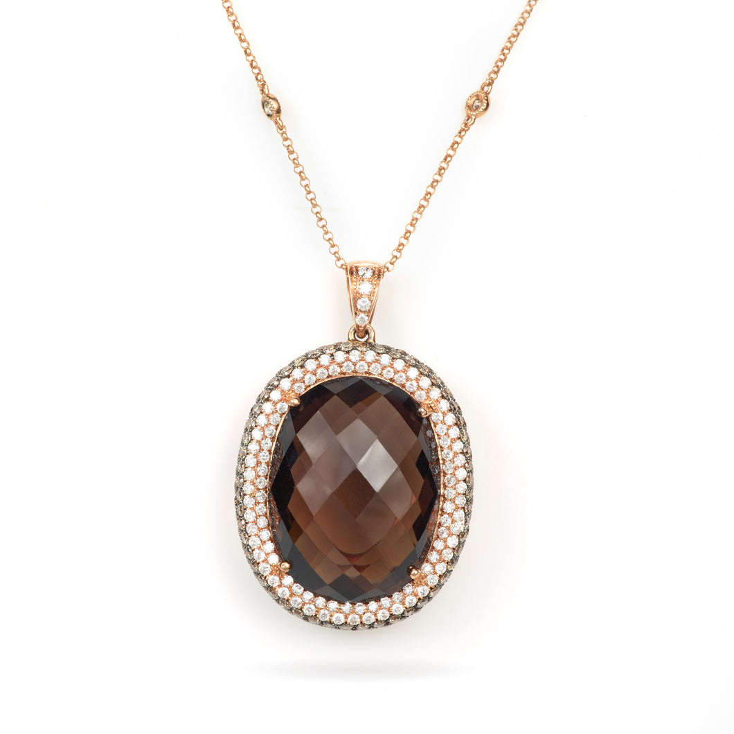 N456 Smokey Quartz Pendant with Champagne and White Diamonds in 14K Rose Gold