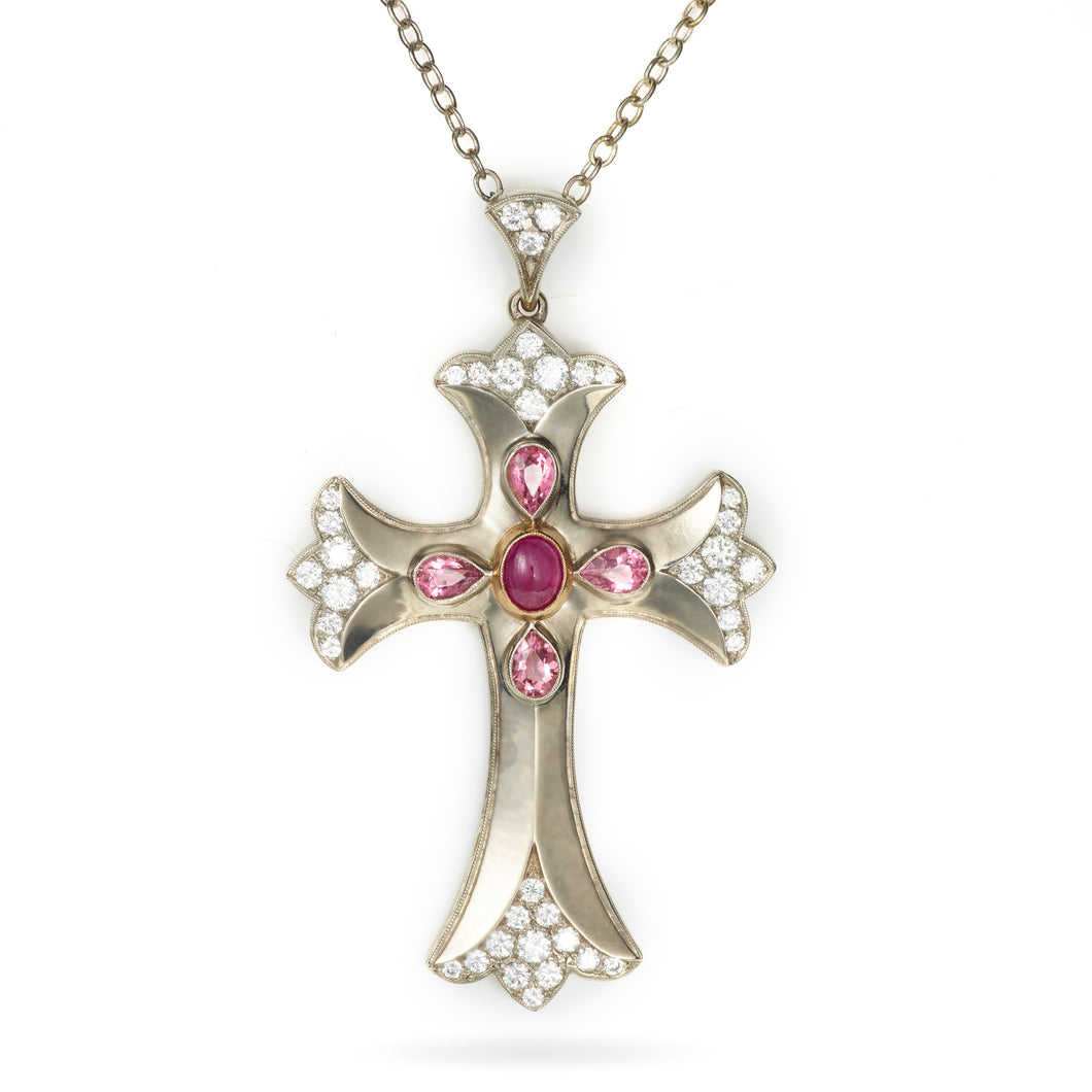 Custom-Made 2-Tone Pink Sapphire and Diamond Cross Pendant