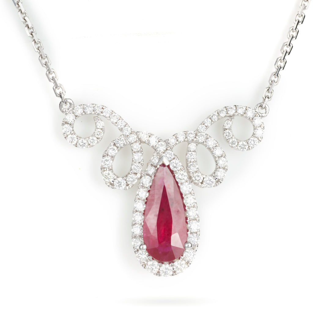 Pear Ruby Necklace with Diamond Detail in 18K White Gold