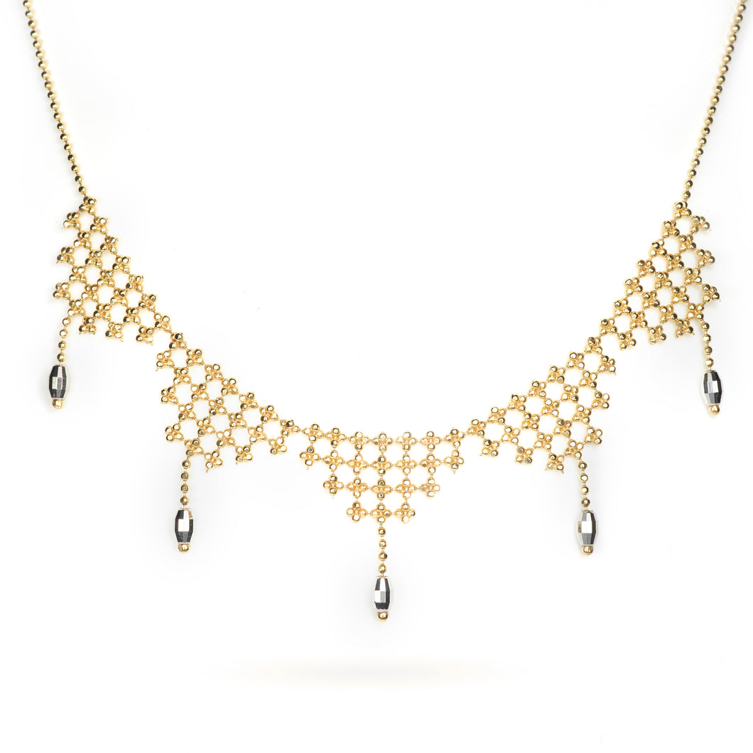 Faceted 2-Tone 14k Yellow and White Gold Woven Necklace