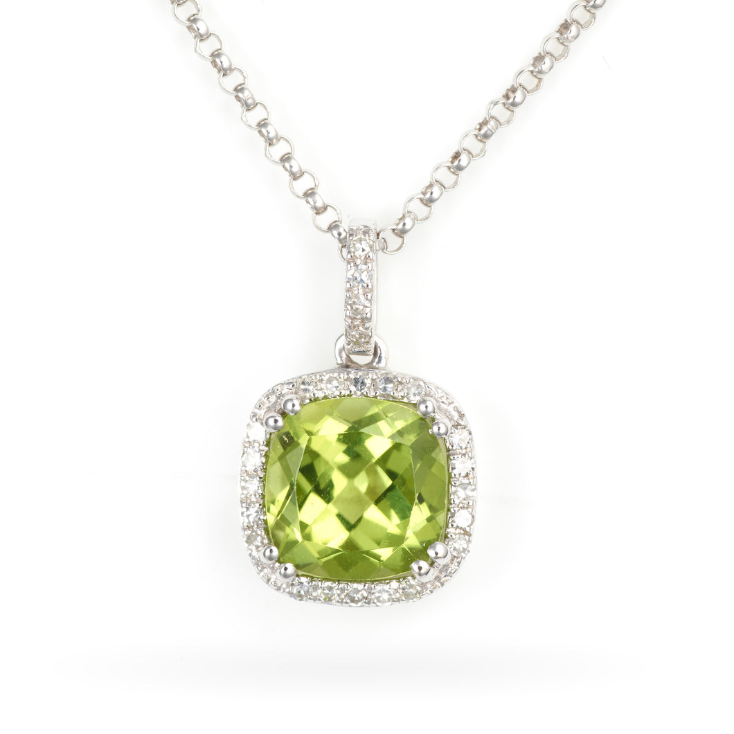 14K White Gold Peridot Pendant with a Diamond Halo
