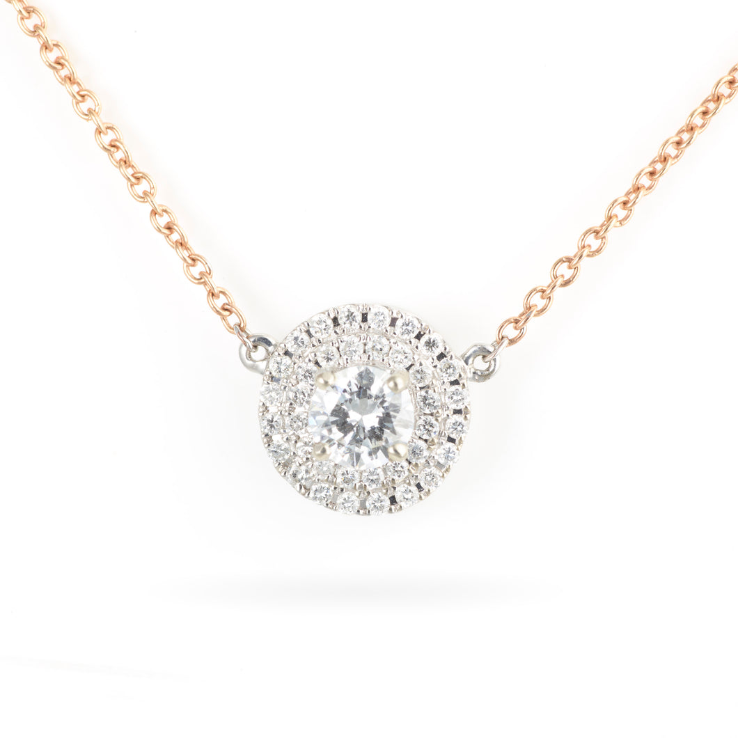 14K Rose and White Gold Diamond Halo Necklace