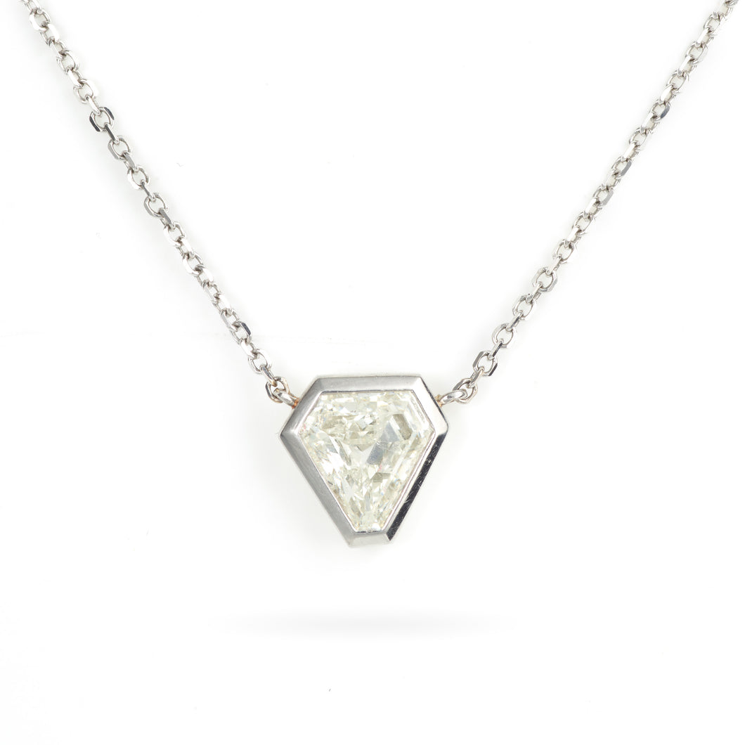 Bezel Set Key Cut Diamond Necklace in 14K White Gold