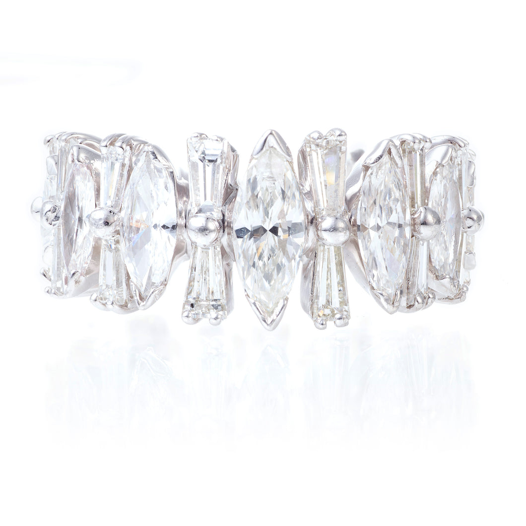 Vintage Tapered Baguette and Marquise Cut Diamond Eternity Ring