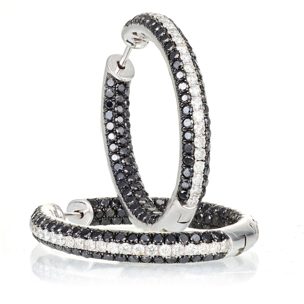 Custom-Made Black & White Diamond Hoop Earrings