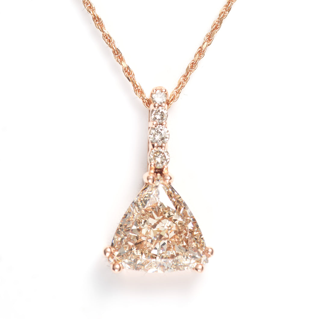 Custom-Made Rose Gold Diamond Pendant (4+ cts)