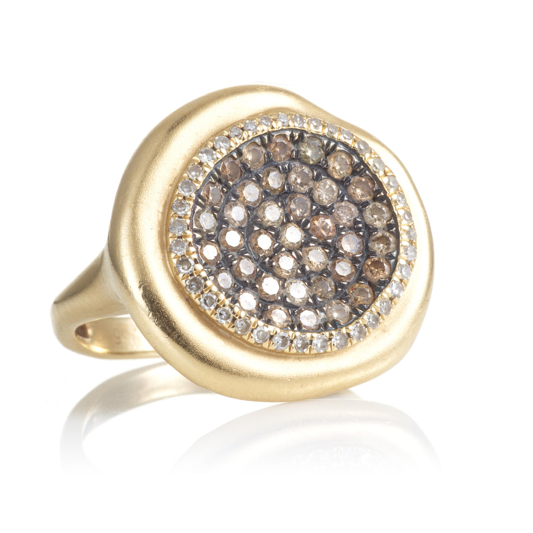 Custom-Made Yellow Gold Ring with Champagne & White Diamonds